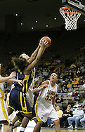 08 February 2007: Michigan forward LeQuisha Whitfield (1) and Iowa center Stacy Schlapkohl (40) go for a rebound while Iowa forward Wendy Ausdemore (32) looks on in Iowa's 66-49 win over Michigan at Carver-Hawkeye Arena in Iowa City, Iowa on February 8, 2007.