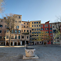 "VENICE, ITALY - NOVEMBER 15:  A general view of the main ""campo"" (square) of the Ghetto on November 15, 2011 in Venice, Italy. Established in 1516 the Ghetto of Venice was the area were Jews were compelled to live during the Venetian Republic. The English term 'ghetto' is derived from the Venetian term for 'slag' and refers to the refuse left the foundry that was located on the same island. In present times the ghetto is a multi-ethnical area area seen as the cultural heart of the city, but with five synagogues remains the centre of the of Jewish community."