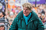 Sandi Toksvig, Co-Founder, Women's Equality Party - #March4Women 2018, a march and rally in London to celebrate International Women's Day and 100 years since the first women in the UK gained the right to vote.  Organised by Care International the march stated at Old Palace Yard and ended in a rally in Trafalgar Square.