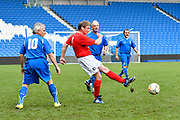 Peter Stacey of England over 60's scores a goal to give a 3-0 lead to the home team and complete his hatrick during the world's first Walking Football International match between England and Italy at the American Express Community Stadium, Brighton and Hove, England on 13 May 2018. Picture by Graham Hunt.
