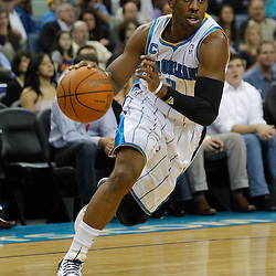 January 5, 2011; New Orleans, LA, USA; New Orleans Hornets point guard Chris Paul (3) against the Golden State Warriors during the first half at the New Orleans Arena.   Mandatory Credit: Derick E. Hingle