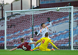 UPTON PARK, ENGLAND - Friday, September 12, 2014: Liverpool's Samed Yesil sees his shot hit the cross bar against West Ham United during the Under 21 FA Premier League match at Upton Park. (Pic by David Rawcliffe/Propaganda)