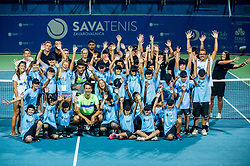 Winner Sergiy Stakhovsky (UKR)  and Runner up Matteo Berrettini (ITA) with ball boys and referees after the Trophy ceremony after the Final match of ATP Challenger Zavarovalnica Sava Slovenia Open 2017, on August 12, 2017 in Sports centre, Portoroz/Portorose, Slovenia. Photo by Vid Ponikvar / Sportida