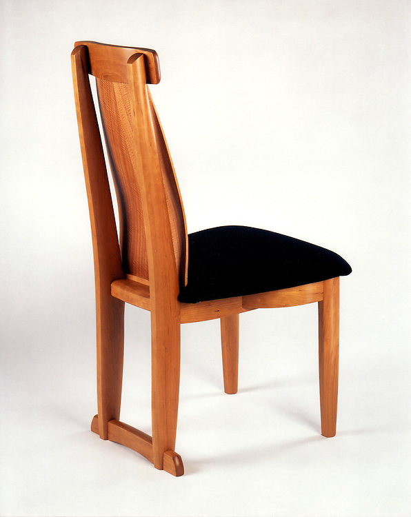 Dining chair<br /> Cherry with anigre veneers<br /> this chair is super comfortable due to a compound bended back allowing for flex and lumbar support. This is one of a set that go with a dining table in Palo Alto, Ca. handmade furniture/chairs