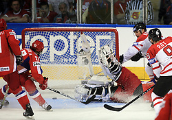Russian goal (Maxim Sushinskiy (33) of Russia) against goalkeeper of Canada Cam Ward at  ice-hockey game Canada vs Russia at finals of IIHF WC 2008 in Quebec City,  on May 18, 2008, in Colisee Pepsi, Quebec City, Quebec, Canada. Win of Russia 5:4 and Russians are now World Champions 2008. (Photo by Vid Ponikvar / Sportal Images)