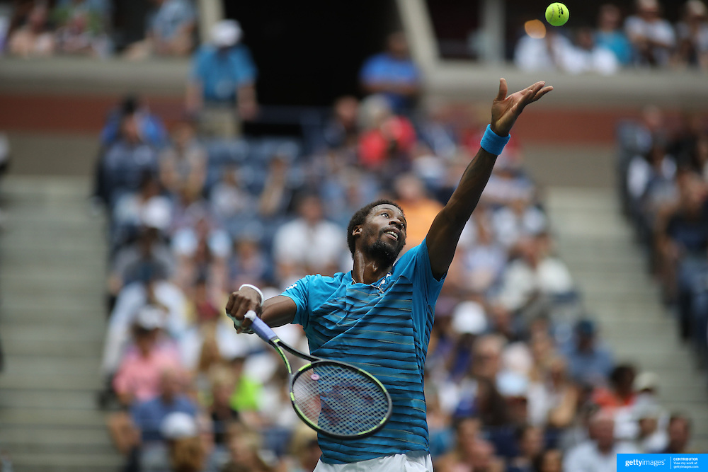 2016 U.S. Open - Day 9  Gael Monfils of France in action against Lucas Pouille of France in the Men's Quarterfinal match on Arthur Ashe Stadium on day nine of the 2016 US Open Tennis Tournament at the USTA Billie Jean King National Tennis Center on September 6, 2016 in Flushing, Queens, New York City.  (Photo by Tim Clayton/Corbis via Getty Images)