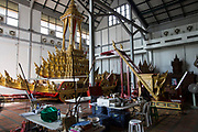 The intricate royal chariot that will carry the late King Bhumibol Adulyadej to the cremation grounds for the Royal Cremation Ceremony.<br /> <br /> The area around the Royal Palace in Bangkok is busy in preparation for the ceremony that will take place between 25-29 October 2017. It will be the final tribute and farewell to the revered His Majesty King Bhumibol Adulyadej (Rama IX) who died on the 13 October 2016 aged 89.