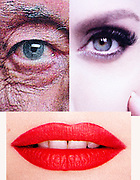 collaged face composite with red lipstick mouth plus old and young eyes