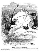 """The Power Behind. Austria (at the ultimatum stage). """"I don't quite like his attitude. Somebody must be backing him."""" (the Serbian cockerel stands proud while the Russian bear hides behind a rock)"""