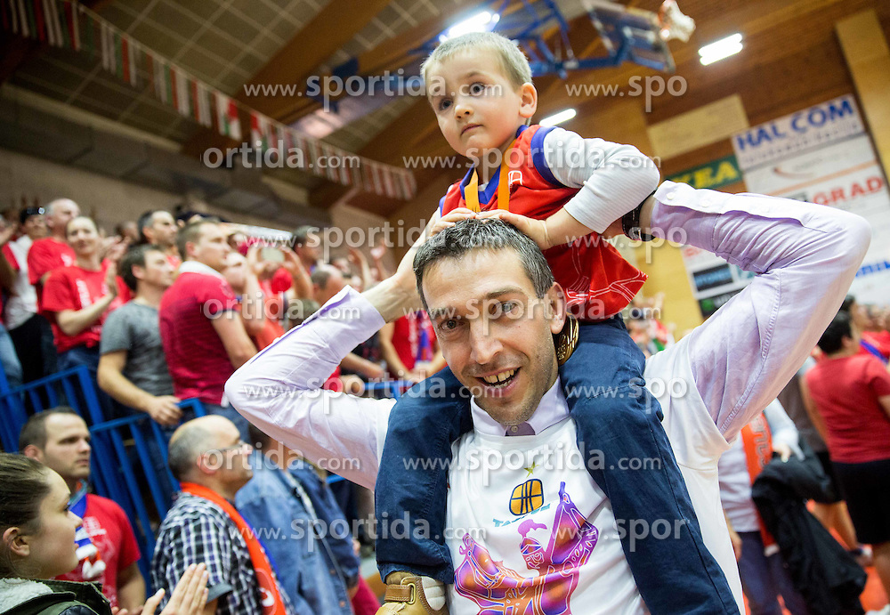 Dejan Mihevc, head coach of Tajfun celebrates after winning during basketball match between KK Tajfun and KK Rogaska in 4th Round of Final of Slovenian National Basketball Championship 2014/15, on May 28, 2015 in OS Hrusevec, Sentjur pri Celju, Slovenia. KK Tajfun won 3rd time and became Slovenian National Champion 2015. Photo by Vid Ponikvar / Sportida
