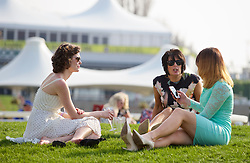 LIVERPOOL, ENGLAND - Thursday, April 9, 2015: Race-goers during Grand Opening Day on Day One of the Aintree Grand National Festival at Aintree Racecourse. (Pic by David Rawcliffe/Propaganda)