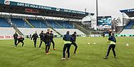 FODBOLD: FC Helsingør's spillere varmer op til kampen i ALKA Superligaen mellem OB og FC Helsingør den 11. februar 2018 på Odense Stadion, EWII Park. Foto: Claus Birch.