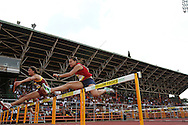 POTCHEFSTROOM, SOUTH AFRICA, Saturday 24 March 2012, Jean-Mare Senekal of Maties and Liriska Botha of Kovsies in the 100m hurdles during the Yellow Pages Series 2 athletics meeting at the McArthur Stadium..Photo by Roger Sedres/Image SA