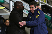 Sol Campbell and Nigel Clough shake hands before the EFL Sky Bet League 1 match between Burton Albion and Southend United at the Pirelli Stadium, Burton upon Trent, England on 3 December 2019.