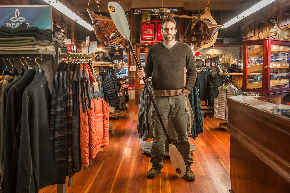 """Scott Hermann, propriator of A Man's Supply in downtown Calistoga, CA.  scott@amanssupply.com  """"You pay for quality once but you pay for crap forever.""""  """"I opened this store eight years ago...I looked in my closet and I decided I wanted a store that represented what I wore...a lot of men are disappointed I don't sell guns.""""   scott@amanssupply.com"""