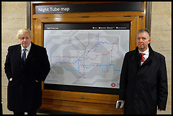 The Mayor of London Boris Johnson with London Underground Managing Director Mike Brown as they announces the new 24 hour Tube service at the weekend at Piccadilly Circus tube station, London, United Kingdom. Thursday, 21st November 2013. Picture by Andrew Parsons / i-Images