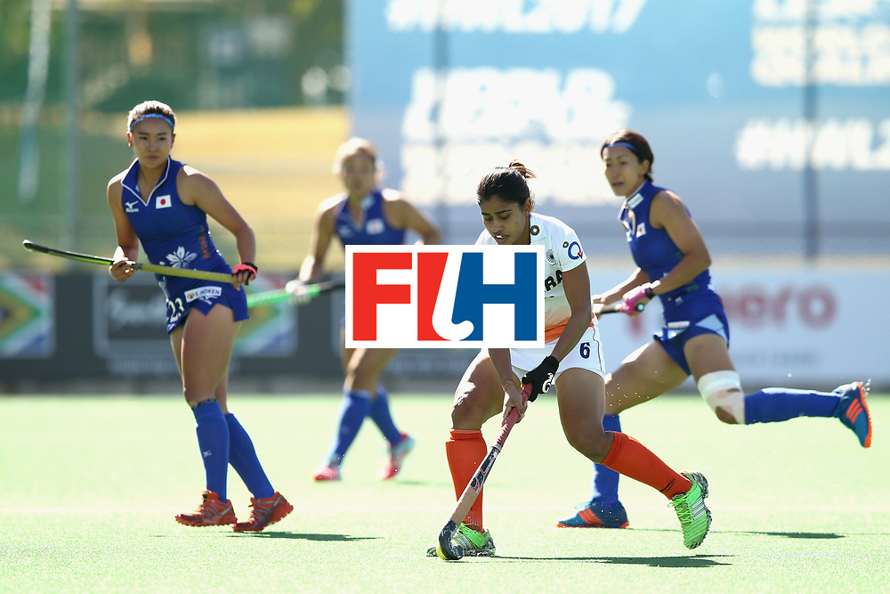 JOHANNESBURG, SOUTH AFRICA - JULY 20: Reena Khokhar of India in action during the 5th-8th Place playoff match between India and Japan during Day 7 of the FIH Hockey World League - Women's Semi Finals on July 20, 2017 in Johannesburg, South Africa.  (Photo by Jan Kruger/Getty Images for FIH)
