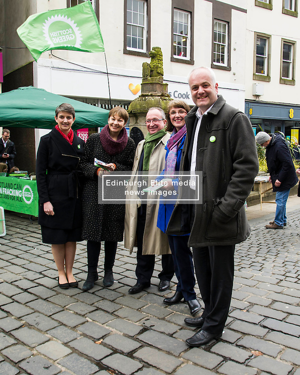 Pictured: Maggie Chapman, Caroline Lucas, John Wilson, Kirsten Robb and Mark Ruskell<br /> <br /> As part of her visit to Scotland to support Greens candidates in the Scottish election, Green MP Caroline Lucas joined Scottish Greens colleagues Maggie Chapman, Greens co-convener, Mark Ruskell, candidate for Mid Scotland and Fife, Kirsten Robb, candidate for Central Scotland and John Wilson, candidate for Central Scotland, to meet anti-fracking campaigners in Falkirk <br /> <br /> Ger Harley   EEm 29 April 2016