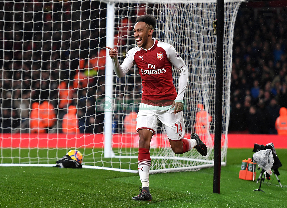 Arsenals's Pierre-Emerick Aubameyang celebrates scoring his side's fourth goal of the game during the Premier League match at the Emirates Stadium, London.