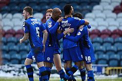 Rochdale's Scott Tanser celebrates scoring the opening goal  - Photo mandatory by-line: Matt McNulty/JMP - Mobile: 07966 386802 - 17.01.2015 - SPORT - Football - Rochdale - Spotland Stadium - Rochdale v Crawley Town - Sky Bet League One
