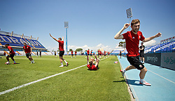 OSIJEK, CROATIA - Friday, June 7, 2019: Wales' Ben Davies celebrates during a training session at Stadion Gradski vrt ahead of the UEFA Euro 2020 Qualifying Group E match against Croatia. (Pic by David Rawcliffe/Propaganda)