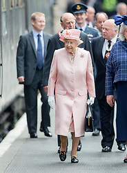 LIVERPOOL-  UK  -22nd June 2016: Britain's HM Queen Elizabeth II visits Liverpool. <br /> The Queen accompanied by HRH The Duke of Edinburgh arrived by Royal Train at Lime Street Station and went on to a reception at the Town Hall where they made an appearance on the balcony for the crowds,<br /> Photo by Ian Jones