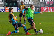 ALKMAAR - 15-02-2017, AZ - Olympique Lyon, AFAS Stadion, training, AZ speler Thomas Ouwejan, AZ speler Jonas Svensson