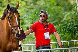Estermann Paul, SUI, Anaba Haize<br /> Rotterdam - Europameisterschaft Dressur, Springen und Para-Dressur 2019<br /> Vet-Check Springen<br /> Horse Inspection Jumping horses<br /> 19. August 2019<br /> © www.sportfotos-lafrentz.de/Sharon Vandeput