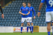 Ian Henderson reads a note passed to him by manager Keith Hill during the EFL Sky Bet League 1 match between Rochdale and Bristol Rovers at Spotland, Rochdale, England on 21 October 2017. Photo by Daniel Youngs.