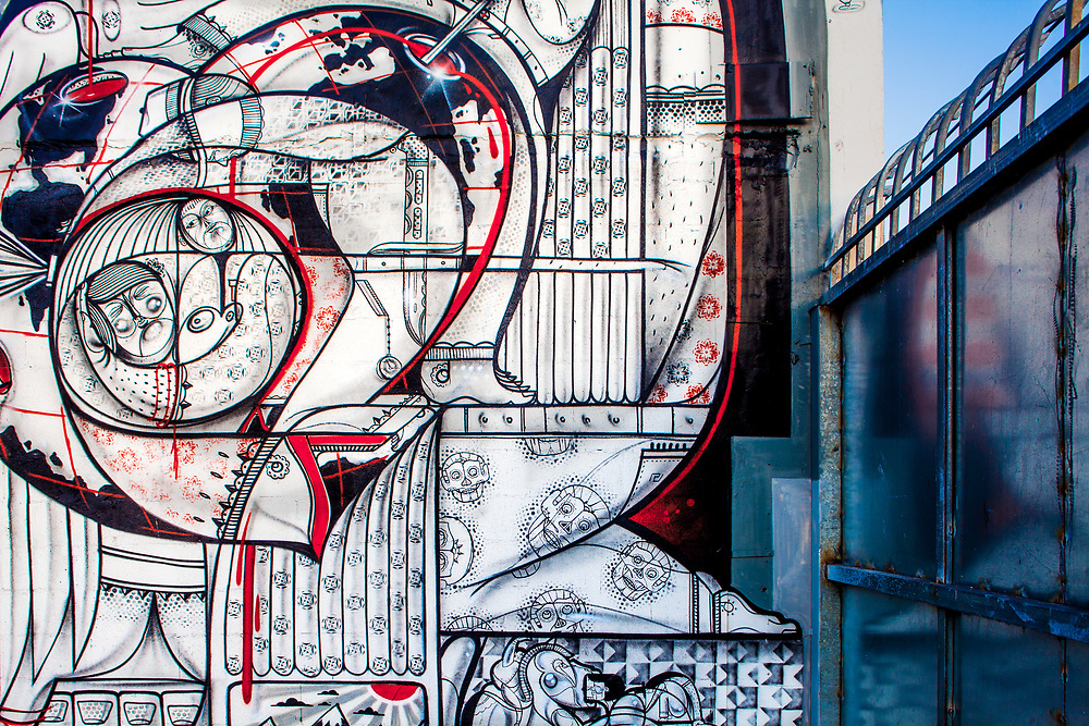 Science fiction-like mural in Miami's Wynwood Arts District