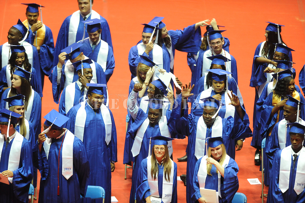 "Water Valley holds its graduation ceremony at the C.M. ""Tad"" Smith Coliseum in Oxford, Miss. on Thursday, May 23, 2013."