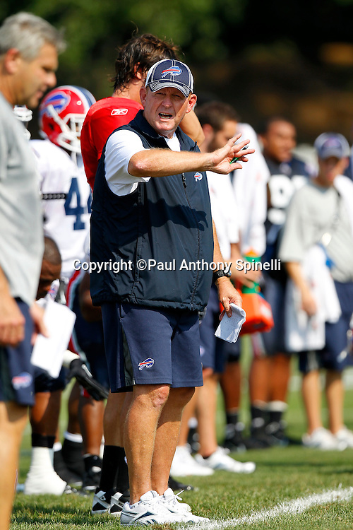 NFL Buffalo Bills Head Coach Chan Gailey calls out and motions right during training camp at St. John Fisher College on August 5, 2010 in Pittsford, New York. (©Paul Anthony Spinelli)