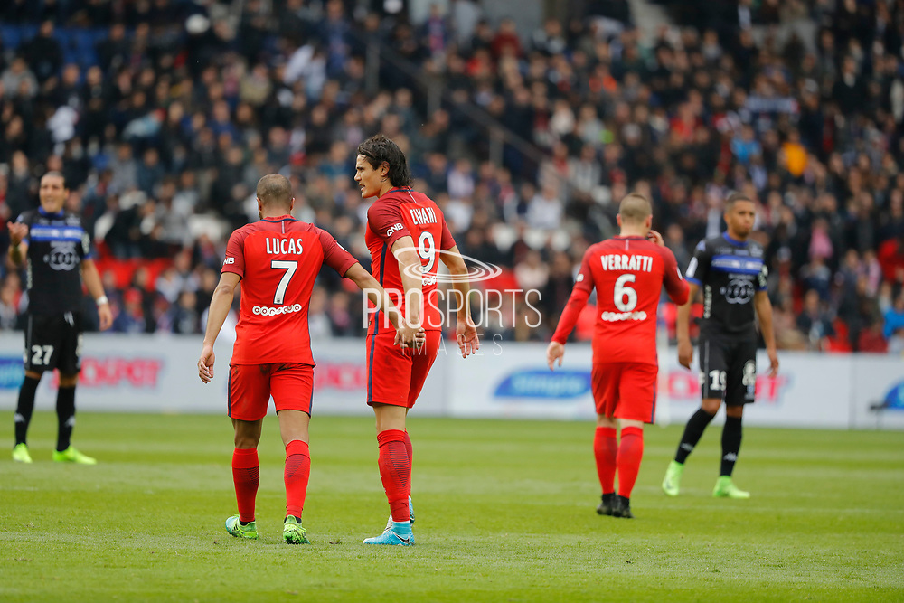 Lucas Rodrigues Moura da Silva (psg) scored a goal and celebrated it with Edinson Roberto Paulo Cavani Gomez (psg) (El Matador) (El Botija) (Florestan), Marco Verratti (psg) during the French championship Ligue 1 football match between Paris Saint-Germain (PSG) and Bastia on May 6, 2017 at Parc des Princes Stadium in Paris, France - Photo Stephane Allaman / ProSportsImages / DPPI