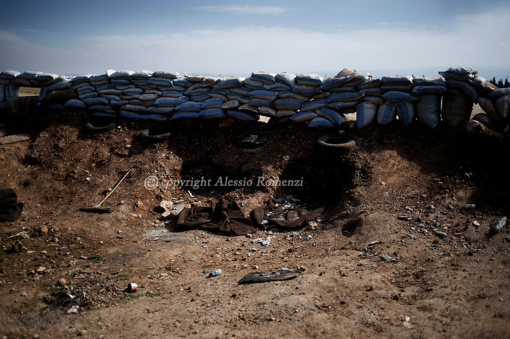 SYRIA - Al Qsair. A barricade in a former Al Asad Forces position in the outskirts of Al Qsair, on February 24, 2012. ALESSIO ROMENZI