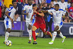 October 6, 2017 - Orlando, Florida, USA - United States forward Bobby Wood (9) and Panama midfielder Armando Cooper (11) fight for a ball during a World Cup qualifying game at Orlando City Stadium on Oct. 6, 2017 in Orlando, Florida.  The US won 4-0....Zuma Press/Scott Miller (Credit Image: © Scott A. Miller via ZUMA Wire)