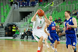 during basketball match between KK Union Olimpija Ljubljana and KK Cibona Zagreb (CRO) in 11th Round of ABA League 2012/13 on December 2, 2012 in Arena Stozice, Ljubljana, Slovenia. Union Olimpija defeated Cibona 87-82. (Photo By Vid Ponikvar / Sportida)