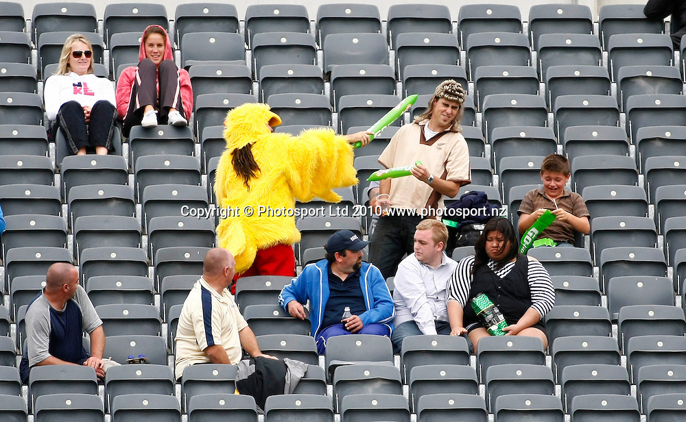 A small crowd watches the action as a chicken gets into a scuffle. International One Day Cricket, New Zealand Blackcaps v Bangladesh, AMI Stadium, Christchurch, New Zealand. Thursday 11 February 2010. Photo: Simon Watts/PHOTOSPORT