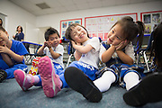 Students sing along with teachers at Monarch Christian Preschool & Kindergarten in Milpitas, California, on September 12, 2014. (Stan Olszewski/SOSKIphoto)