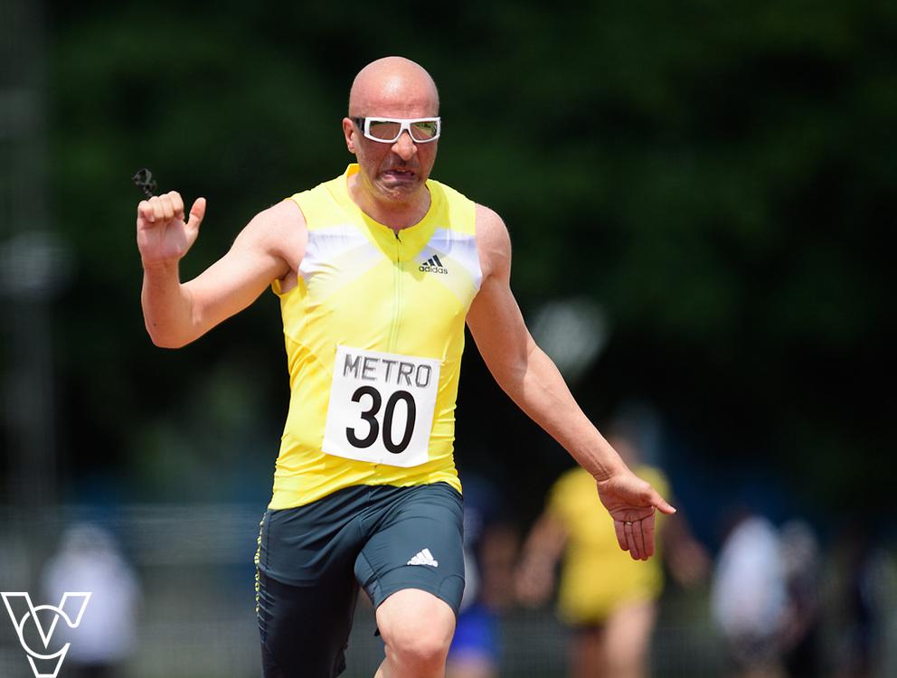Metro Blind Sport's 2017 Athletics Open held at Mile End Stadium.  100m.  Amir Kamali-Sarvestani <br /> <br /> Picture: Chris Vaughan Photography for Metro Blind Sport<br /> Date: June 17, 2017