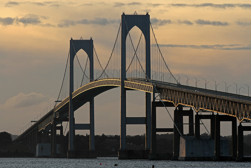Claiborne Pell Newport Bridge at sunset.