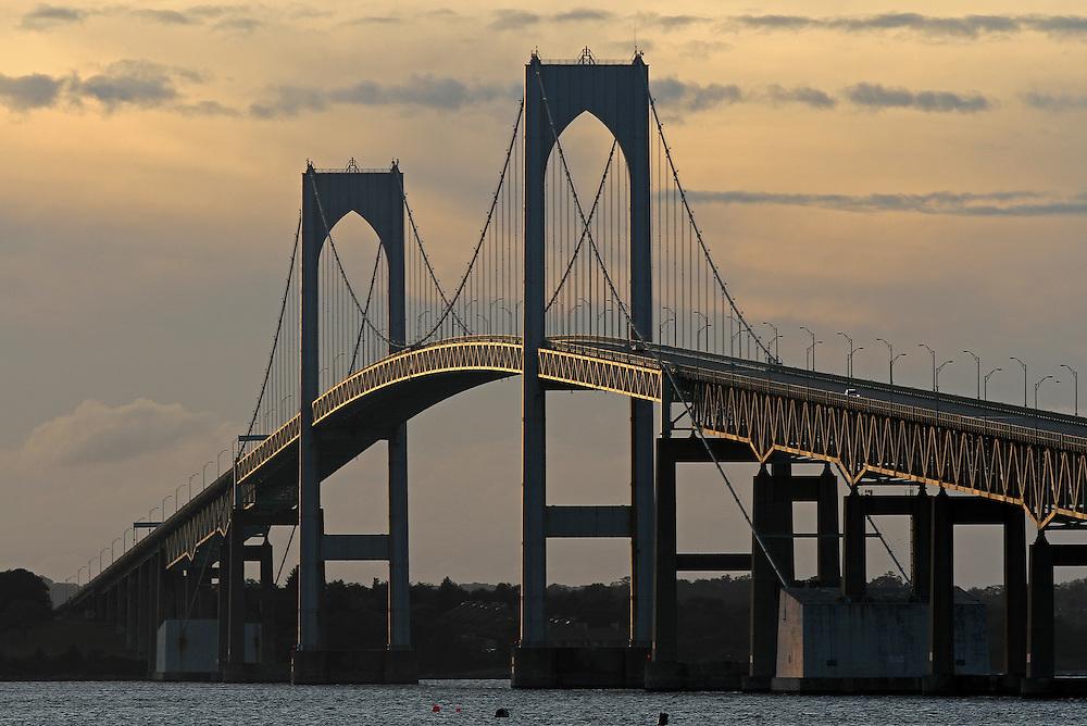 Claiborne Pell Newport Bridge at sunset.