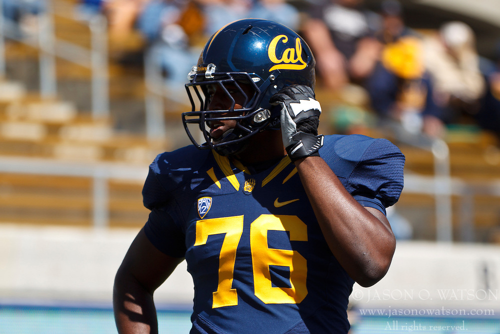 BERKELEY, CA - SEPTEMBER 08: Offensive linesman Christian Okafor #76 of the California Golden Bears warms up before the game against the Southern Utah Thunderbirds at Memorial Stadium on September 8, 2012 in Berkeley, California. The California Golden Bears defeated the Southern Utah Thunderbirds 50-31. (Photo by Jason O. Watson/Getty Images) *** Local Caption *** Christian Okafor