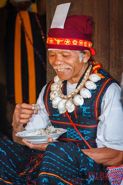 Man in a ceremony. Ben village. Flores island.  Indonesia.