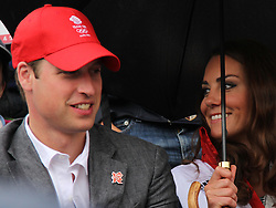 © licensed to London News Pictures. London, UK. 01/08/2012. Prince William and Duchess of Cambridge Katherine (Kate) Middleton watching Zara Phillips compete at Olympic Equestrian Showjumping at Greenwich Park on August 1, 2012. Photo credit: Russell Marsh/LNP