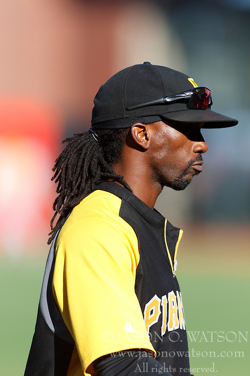 August 8, 2011; San Francisco, CA, USA;  Pittsburgh Pirates center fielder Andrew McCutchen (22) during batting practice before the game against the San Francisco Giants at AT&T Park. Pittsburgh defeated San Francisco 5-0.