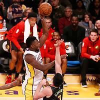 07 January 2018: Los Angeles Lakers forward Julius Randle (30) goes for the baby hook over Atlanta Hawks forward Ersan Ilyasova (7) during the LA Lakers 132-113 victory over the Atlanta Hawks, at the Staples Center, Los Angeles, California, USA.