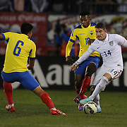 Gregory Garza, (right), USA, in action during the USA Vs Ecuador International match at Rentschler Field, Hartford, Connecticut. USA. 10th October 2014. Photo Tim Clayton