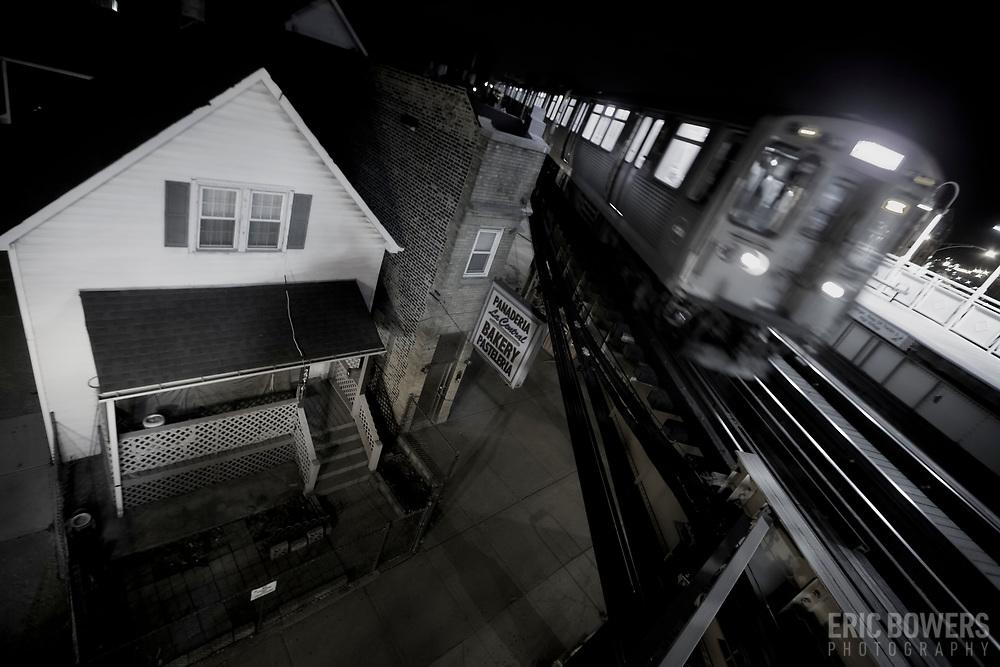 Chicago El Blue Line Trains - California Avenue Station  in Logan Square Neighborhood