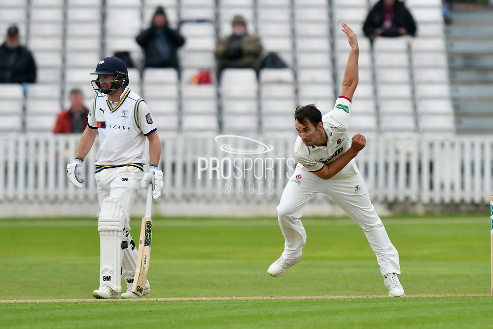 Lewis Gregory of Somerset bowling during the third day of the Specsavers County Champ Div 1 match between Somerset County Cricket Club and Yorkshire County Cricket Club at the Cooper Associates County Ground, Taunton, United Kingdom on 29 April 2018. Picture by Graham Hunt.