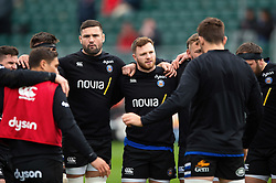 Elliott Stooke and Max Wright of Bath Rugby looks on in a pre-match huddle - Mandatory byline: Patrick Khachfe/JMP - 07966 386802 - 09/11/2019 - RUGBY UNION - The Recreation Ground - Bath, England - Bath Rugby v Northampton Saints - Gallagher Premiership